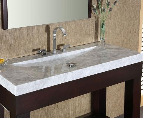 White Carrara Marble Stone Bathroom Vanity Top With Integrated Bowl ...
