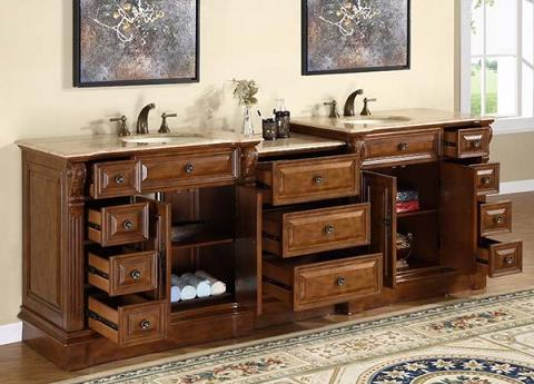 Streamlining storage options for large antique bathroom vanities for Prefabricated bathroom cabinets