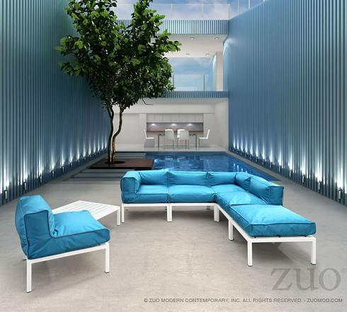 Copacabana Aluminum Outdoor Sectional Set With Blue Cushions From Zuo