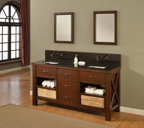 Open shelf bathroom vanities