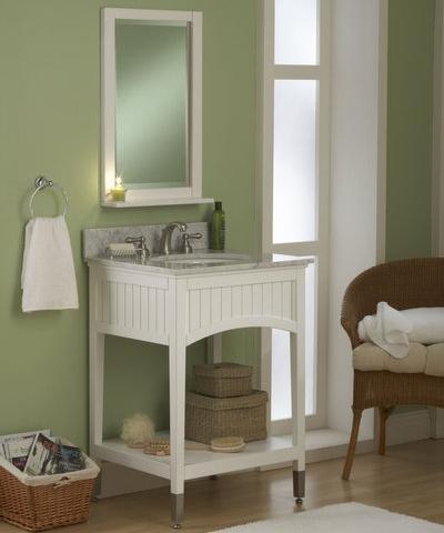 Petite open shelf bathroom vanities for a small bathroom for Sagehill designs bathroom vanity