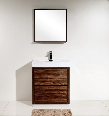"Bliss 30"" Walnut Free Standing Modern Bathroom Vanity FMB30-WNT from KubeBath"