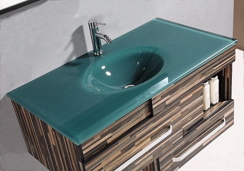 Tempered glass vanity tops for a striking modern bathroom for Glass bathroom sinks countertops