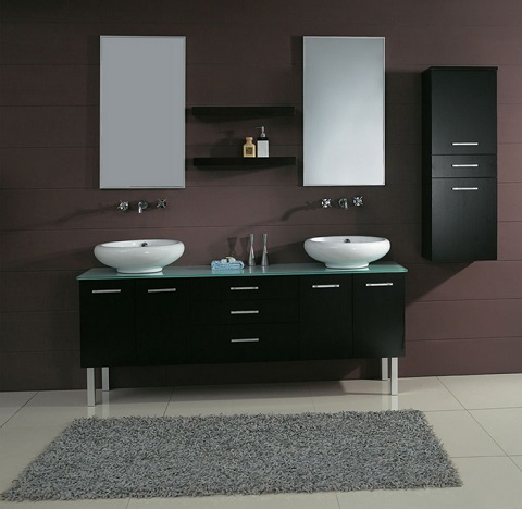 Excellent  Pearl White Mission Double Bathroom Vanity Sink Console With Turn Legs