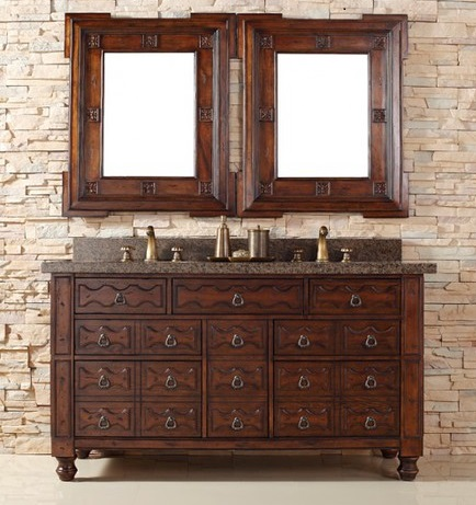 Drawer pulls get new life on these apothecary style bathroom vanities for Apothecary style bathroom vanity