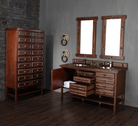 Drawer Pulls Get New Life On These Apothecary Style Bathroom Vanities