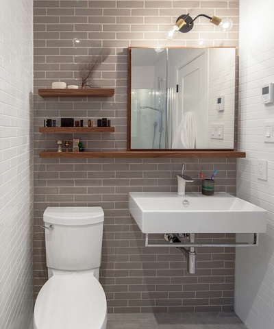 Shelves are a perfect pair for a nordic inspired spa style bathroom