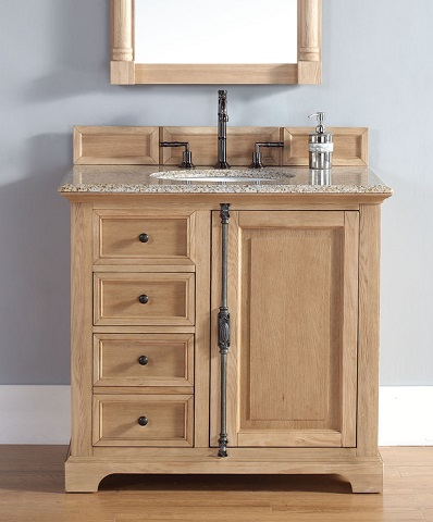 Unfinished solid wood bathroom vanities from james martin for Bathroom cabinets natural wood