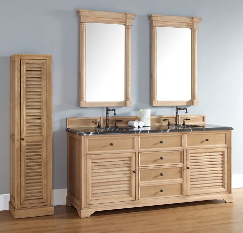 Unfinished solid wood bathroom vanities from james martin for Unfinished bathroom cabinets 72