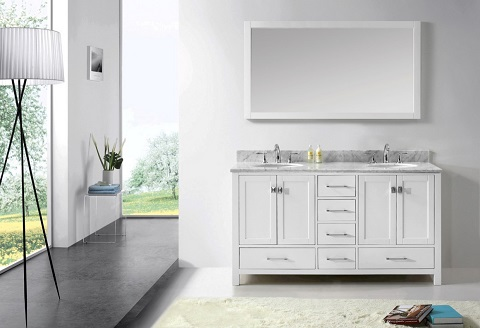 Shaker style bathroom vanities a traditional yet trendy choice for a contemporary bathroom for Caroline 60 inch double sink bathroom vanity set