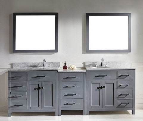 Decorating a large bathroom modular bathroom vanity sets from virtu usa for Prefabricated bathroom cabinets