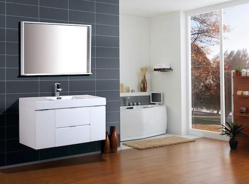 "Bliss 48"" High Gloss White Wall Mount Modern Bathroom Vanity, BSL48-GW by KubeBath"