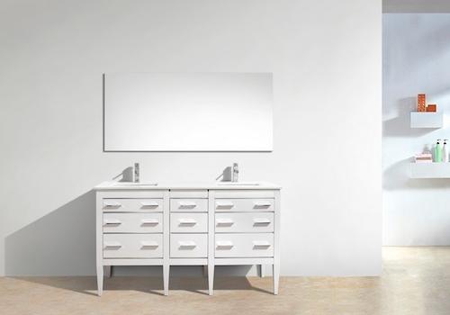 "Eiffel 60"" Double Sink High Gloss White Bathroom Vanity W/ Quartz Counter Top, E60-GW by KubeBath"