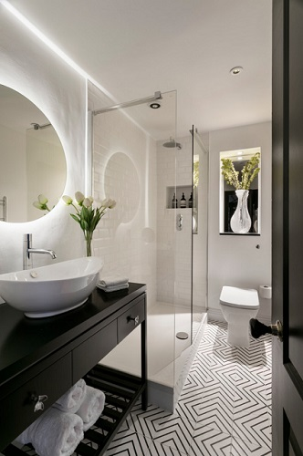Small bathrooms can be a real challenge to work with - especially if you have to compensate for a lack of natural light (by Shanade McAllister-Fisher)