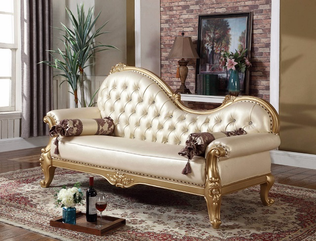 Pearl Leather Chaise, 676-CH by Meridian Furniture