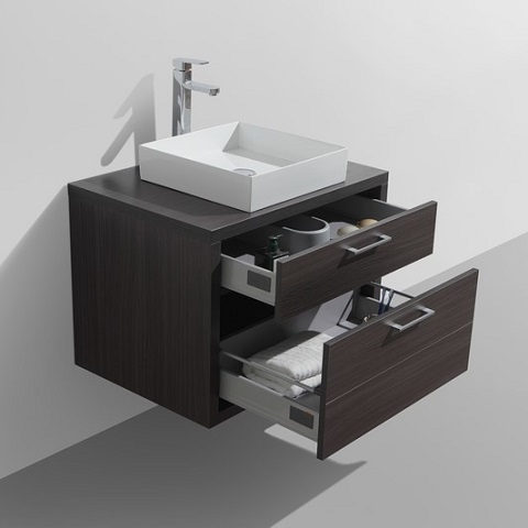 "Tucci 30"" Dark Gray Oak Wall Mount Modern Bathroom Vanity TC760WB from KubeBath"