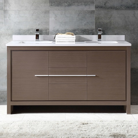 "Allier 60"" Gray Oak Double Sink Vanity Cabinet FCB8119GO-CWH-U from Fresca"