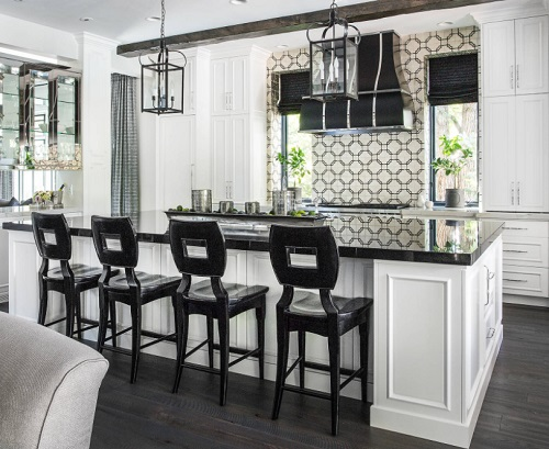 Black designs on white tile are particularly popular, and great for creating a high-contrast kitchen (by The Design House Interior Design)