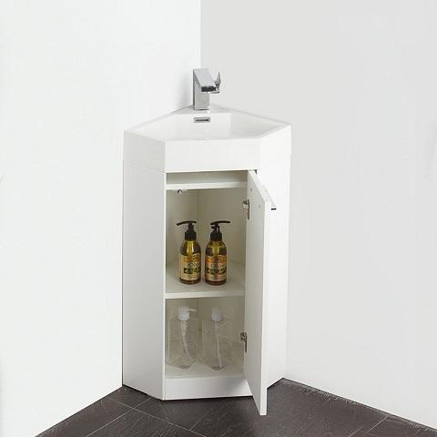 "Coda 14"" White Modern Corner Bathroom Vanity FVN5082WH from Fresca"