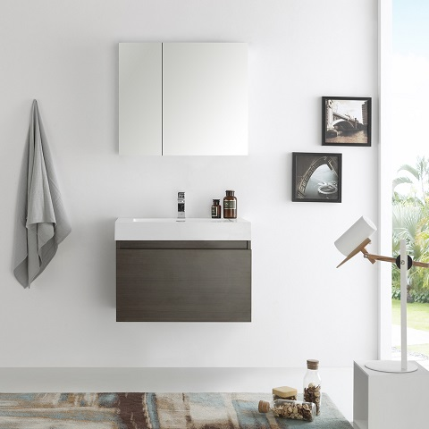 "Mezzo 30"" Gray Oak Wall Hung Bathroom Vanity FVN8007GO from Fresca"