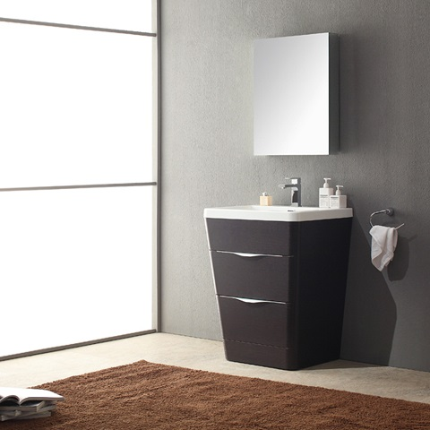 """Milano 26"""" Chestnut Vanity with Medicine Cabinet FVN8525CN from Fresca"""