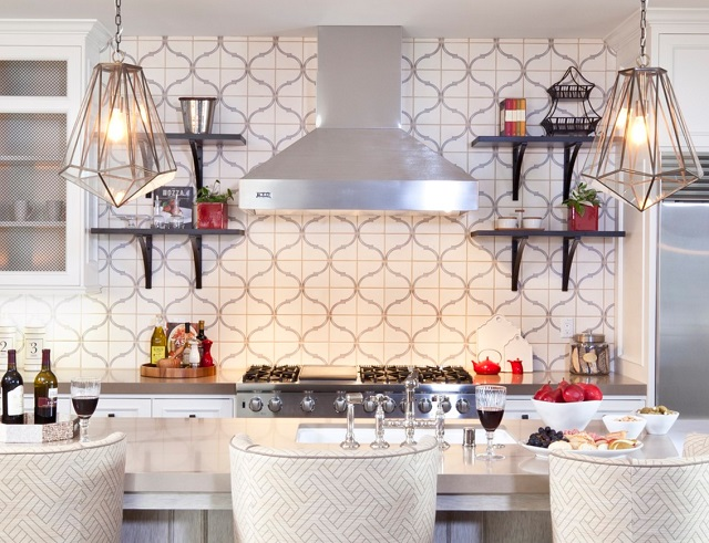 Painted square tiles are easy mode for a graphic backsplash (by D for Design)
