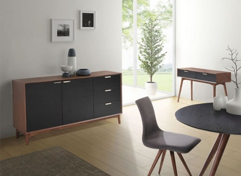 Liberty City Buffet 199055 in Walnut and Black from Zuo Modern