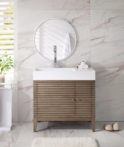 "Linear 36"" Single Bathroom Vanity 210-V36-WW from James Martin Furniture"
