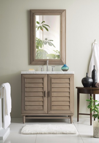 "Portland 36"" Single Bathroom Vanity in White Washed Walnut 620-V36-WW from James Martin Furniture"