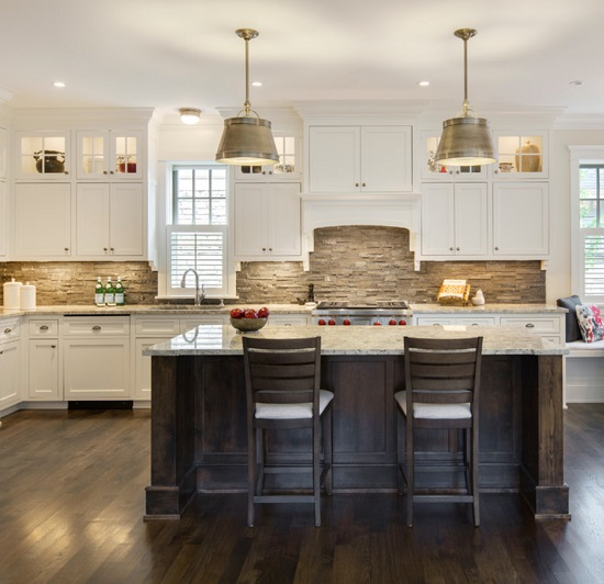 Unpolished stone has a rough, natural quality that will give your kitchen a heftier, more traditional look and feel than almost any other type of tile (by Charlie & Co. Design, Ltd)