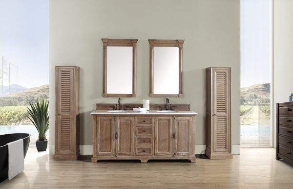 "James Martin Providence Collection 72"" Double Bathroom Vanity with Two Linen Cabinets in Driftwood"