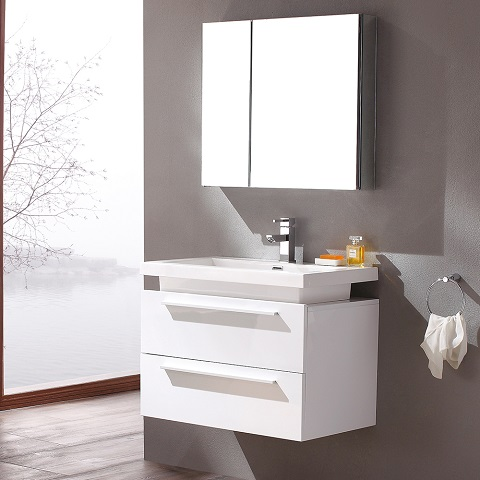 "Senza Medio 32"" White Modern Bathroom Vanity with Medicine Cabinet FVN 8080WH from Fresca"