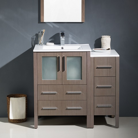 "Torino 36"" Gray Oak Modern Bathroom Vanity With Side Cabinet FVN622-2412GO-UNS from Fresca"