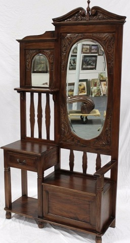 Hall Stand With Seat And Oval Mirror IN-25 from Harris Furniture