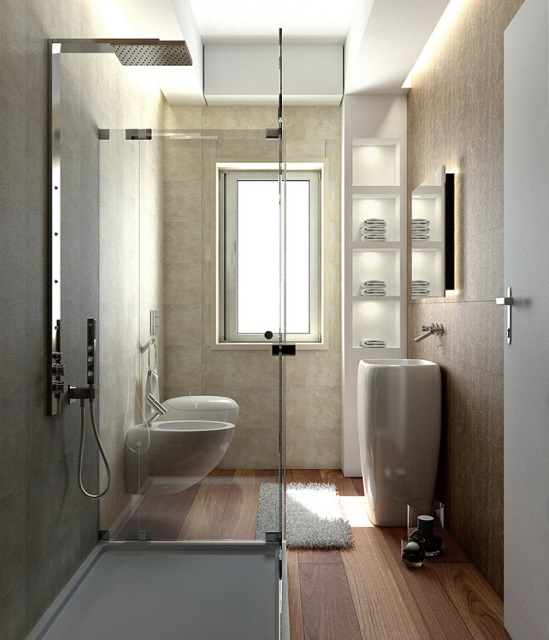 Good small bathroom design is all about choosing fixtures that aren't just space saving, but that look great, too (by Giuseppe Cetere Architetto)