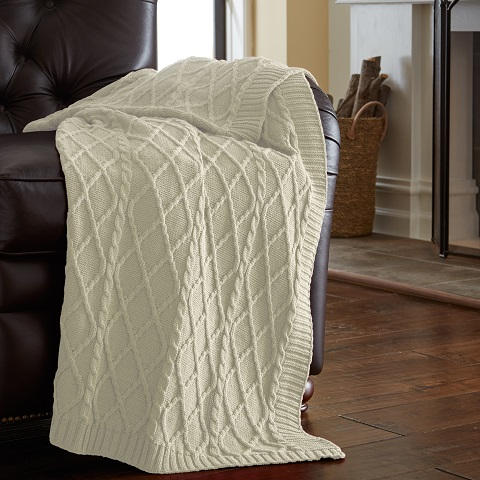 Oversized Cotton Cable Diamond Knit Throw in Antique White 5HCBL478-AWT-ST from Amrapur
