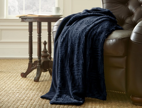 Pacific Coast Textiles Luxury Faux Fur Throw in Indigo 5LXYFXTG-IND-ST from Amrapur
