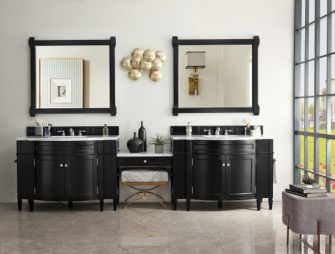 "Brittany 118"" Double Bathroom Vanity Set with Makeup Table 650-V118-BKO-DU-CAR from James Martin Furniture"
