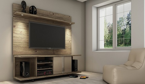Carnegie TV Stand And Park Floating Wall TV Panel With LED Lights In Nature and Nude 2-1344481461 from Manhattan Comfort