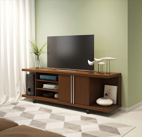 Carnegie TV Stand in Nut Brown 16353 from Manhattan Comfort