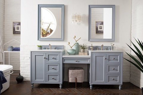 "Copper Cove Encore 86"" Double Bathroom Vanity Set With Makeup Table 301-V86-SL-DU-3SNW from James Martin Furniture"