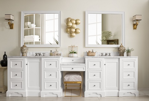 "De Soto 118"" Double Bathroom Vanity Set With Makeup Table 825-V118-BW-DU-CAR from James Martin Furniture"