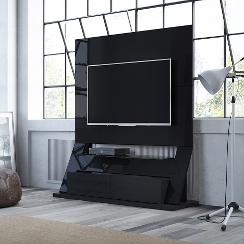 Intrepid Freestanding Theater Entertainment Center in Black Gloss 24753 from Manhattan Comfort