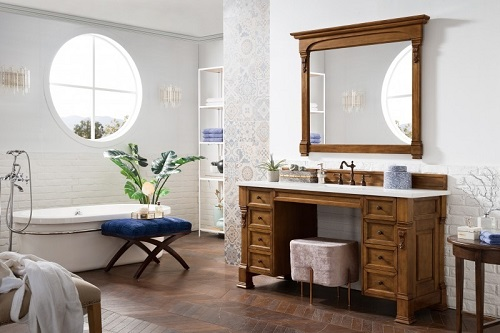"Brookfield 60"" Single Bathroom Vanity with Makeup Table in Country Oak 146-V60S-COK from James Martin Furniture"