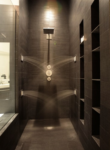 When it comes to custom shower systems, your imagination is the limit - you can arrange any number of shower heads anywhere you want (by Jendretzki LLC)