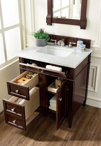 "Brittany 30"" Single Bathroom Vanity in Burnished Mahogany 650-V30-BNM from James Martin Furniture"