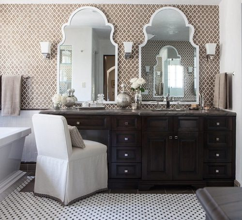 Mosaic tile in a unique shape or material can be a lovely signature addition to your bathroom - and one no one will know you did yourself (by Kathryne Designs, Inc)
