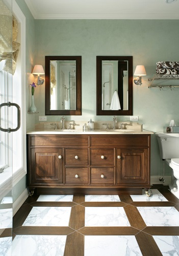 Smart use of natural and faux wood can add amazing warmth and elegance to your bathroom, and if you play your cards right, it won't even be hard to clean (by Thyme & Place Design LLC)