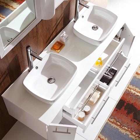 """Bellezza 59"""" White Modern Double Vessel Sink Bathroom Vanity FVN6119 from Fresca"""
