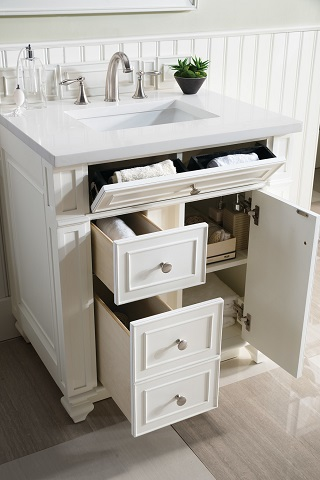 """Bristol 30"""" Single Bathroom Vanity in Cottage White 157-V30-CWH-SW from James Martin Furniture"""